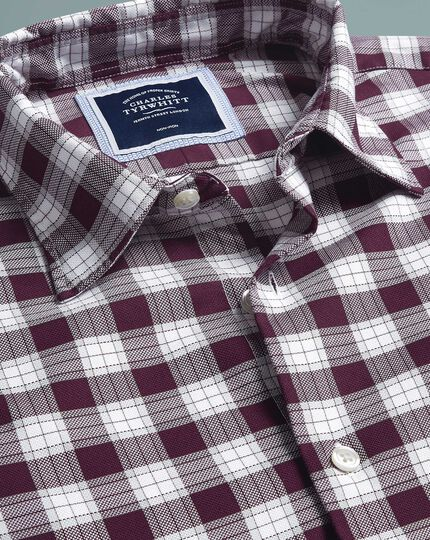 Soft Washed Non-Iron Stretch Oxford Check Shirt - Berry And White