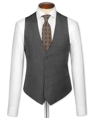 Grey slim fit sharkskin travel suit vest