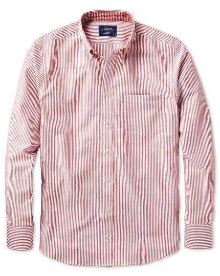 Bügelfreies Slim Fit Oxfordhemd in dunkelorgange mit mit Bengal-Streifen