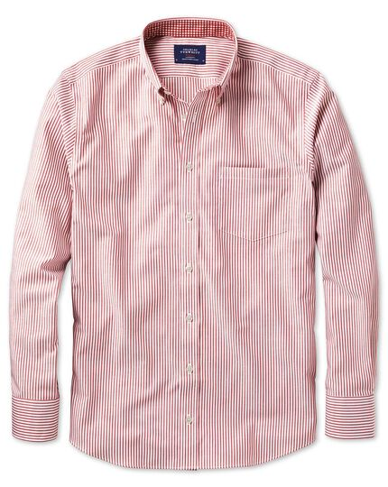 Extra slim fit button-down non-iron Oxford Bengal stripe rust shirt