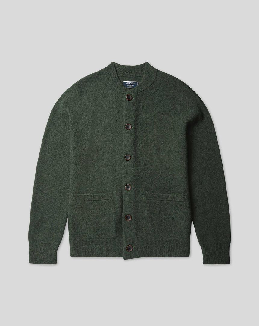 Brushed Wool Bomber Jacket - Forest Green