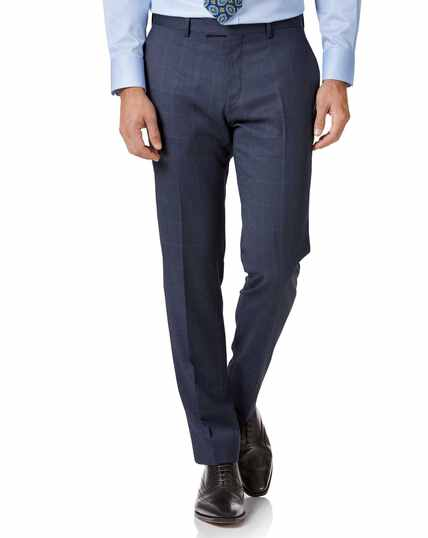 Airforce blue slim fit Italian suit trouser