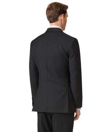 Charcoal slim fit twill business suit jacket