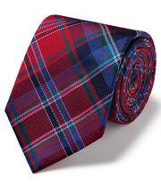 Cravate de luxe rouge en tissu anglais à carreaux écossais multicolores