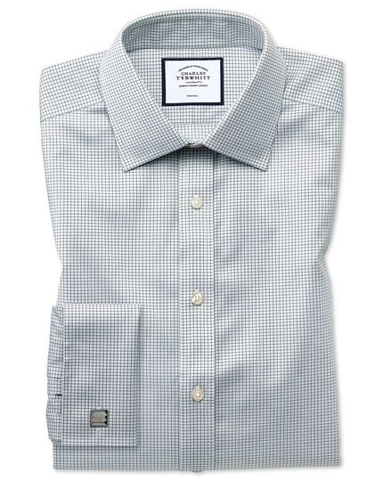 Slim fit non-iron twill mini grid check grey shirt