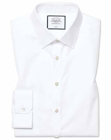 Super slim fit non-iron twill white shirt