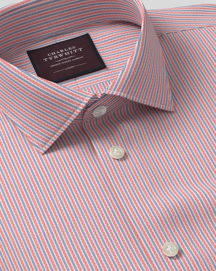Semi-Cutaway Collar Italian Luxury Dobby Stripe Shirt - Coral
