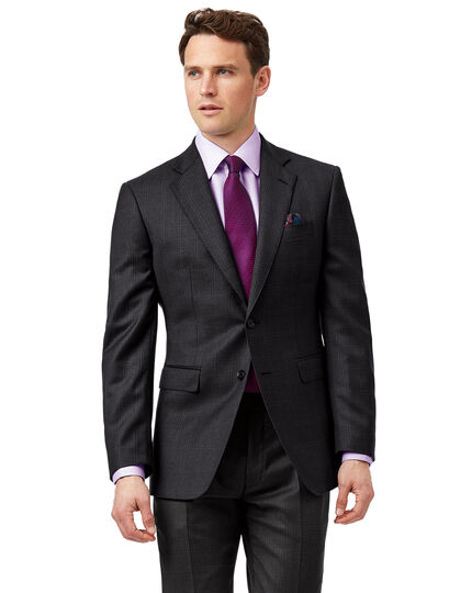 Grey check slim fit birdseye travel suit jacket