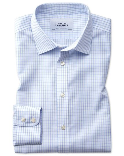 Slim fit non-iron small windowpane check light blue shirt