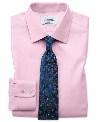 Classic Fit Kavallerie-Twill Hemd aus ägyptischer Baumwolle in Hellrosa
