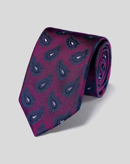 Silk Paisley Tie - Purple & Navy