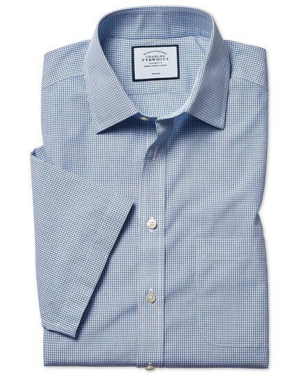 Classic fit non-iron Tyrwhitt Cool poplin check short sleeve blue shirt