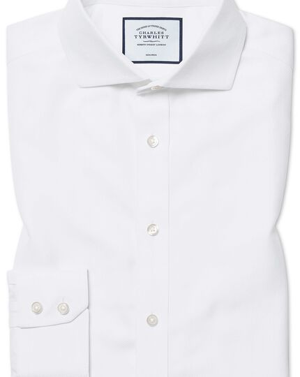 Slim fit cutaway non-iron herringbone white shirt