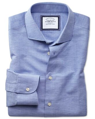 Extra slim fit semi-cutaway business casual linen cotton blue shirt