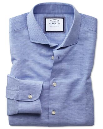 Extra slim fit spread collar business casual linen cotton blue shirt