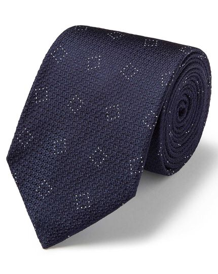 Navy silk textured square classic tie