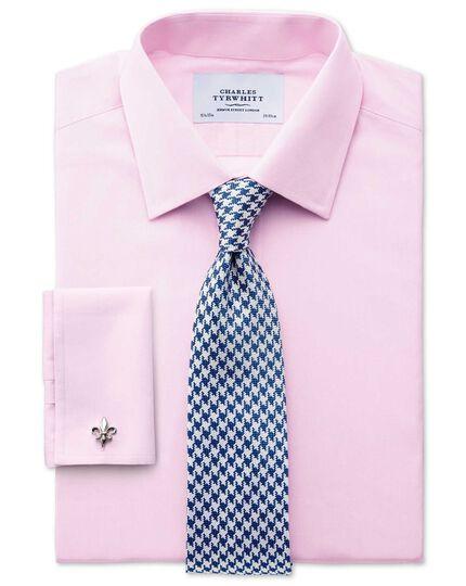 Chemise rose en fil à fil coupe droite