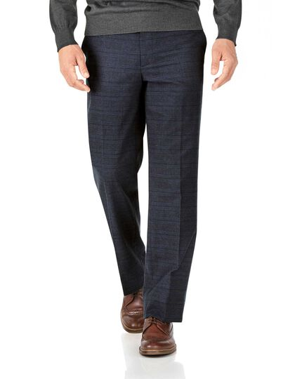 Indigo classic fit cotton flannel check pants