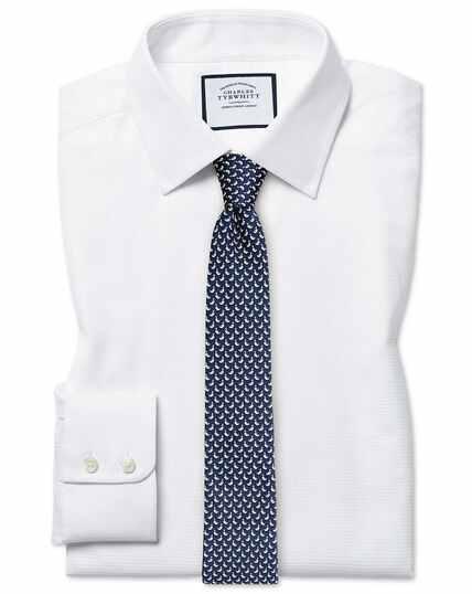 Wit overhemd van Egyptisch katoen met visgraatmotief, extra slanke pasvorm