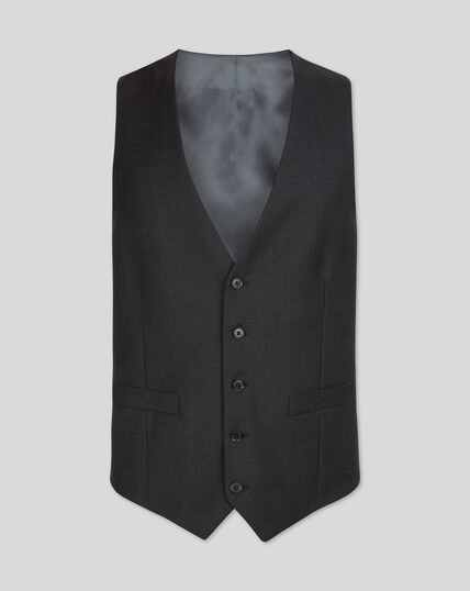 Twill Business Suit Vest - Charcoal