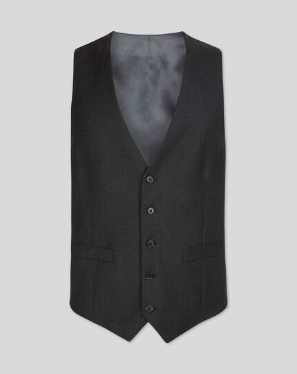 Twill Business Suit Waistcoat - Charcoal