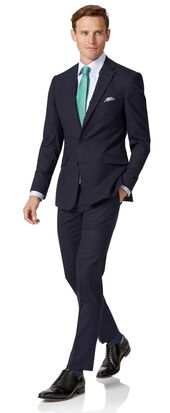Extra Slim Fit Merino-Businessanzug in Mitternachtsblau