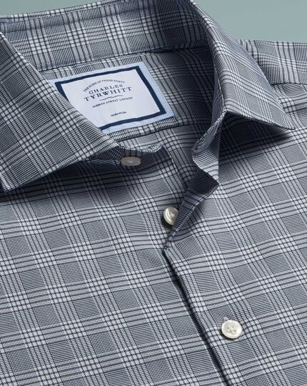 Extra slim fit non-iron natural stretch Prince of Wales check grey shirt