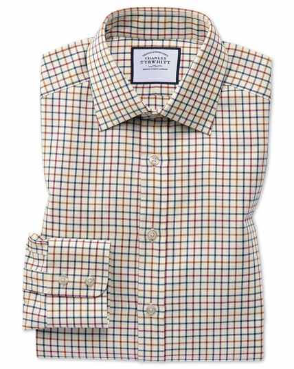 Slim fit navy and berry country check shirt