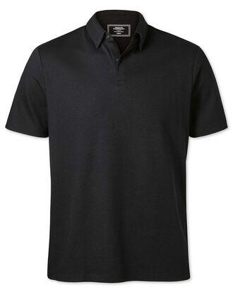 Plain black jersey polo