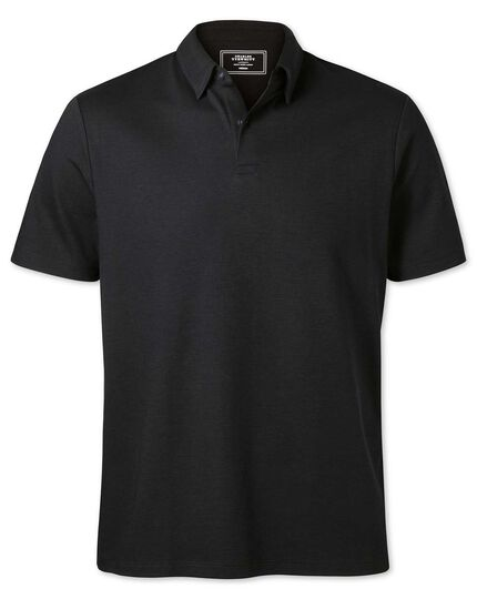 Plain black jersey polo