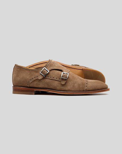 Schuhe aus Wildleder mit flexibler Sohle und Doppelschnalle - Braun