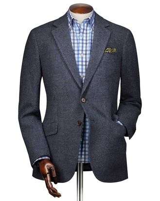 Slim fit blue puppytooth wool jacket