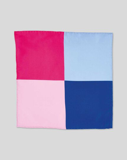 Quarter Pocket Square - Blue & Pink