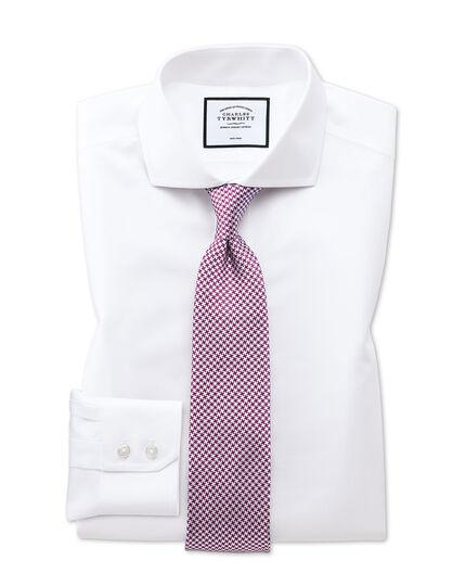 Classic fit white non-iron twill spread collar shirt