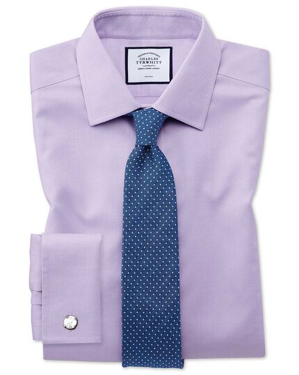 Extra slim fit non-iron lilac triangle weave shirt