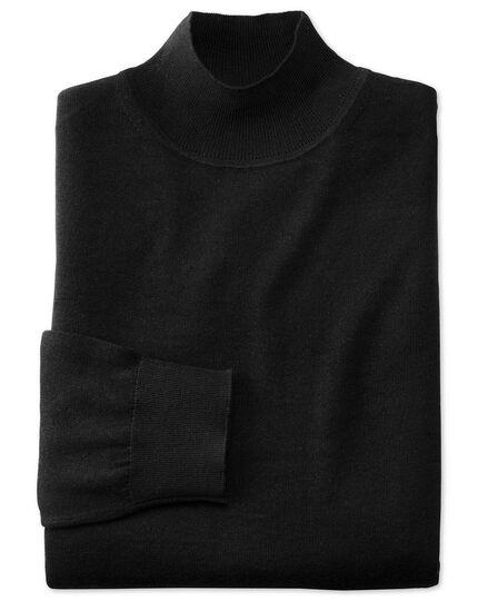 Black mock turtleneck merino sweater