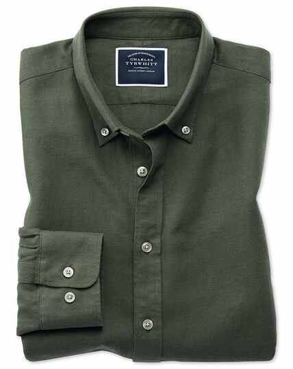 Slim fit olive cotton linen twill shirt