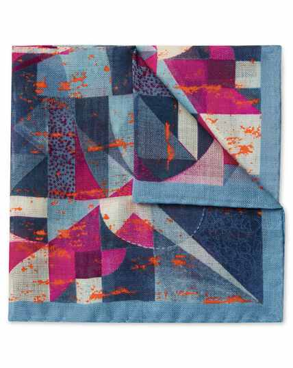 Sky blue and pink abstract print luxury Italian pocket Square