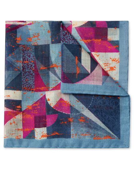 Sky and pink multi abstract print luxury Italian Pocket Square