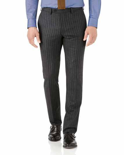 Charcoal stripe slim fit flannel business suit pants