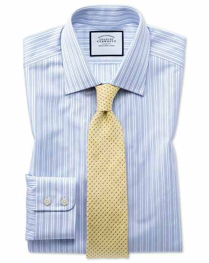 Slim fit Egyptian cotton poplin sky blue stripe shirt