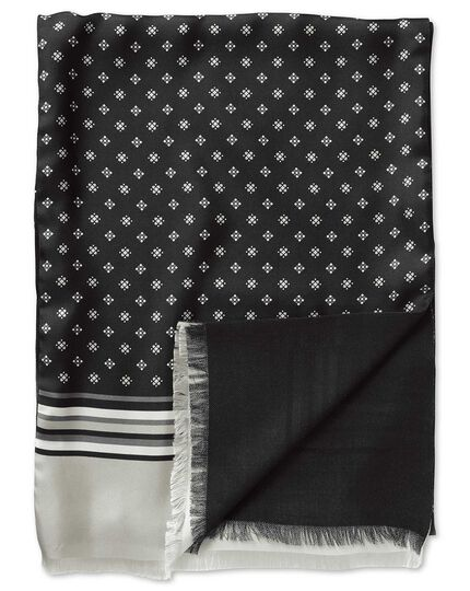 Black printed geometric silk scarf