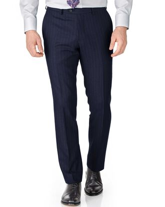 Navy stripe slim fit saxony business suit trousers