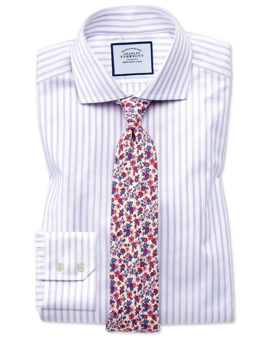 Slim fit cutaway textured stripe lilac and white shirt