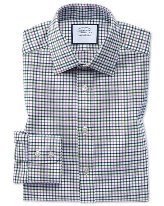 Classic fit purple and green country check shirt