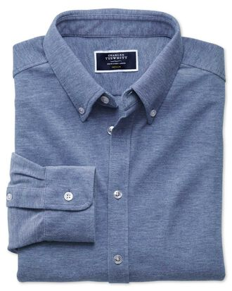 Navy Oxford jersey shirt