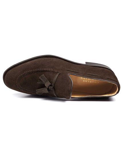 Brown suede Keybridge tassel loafers