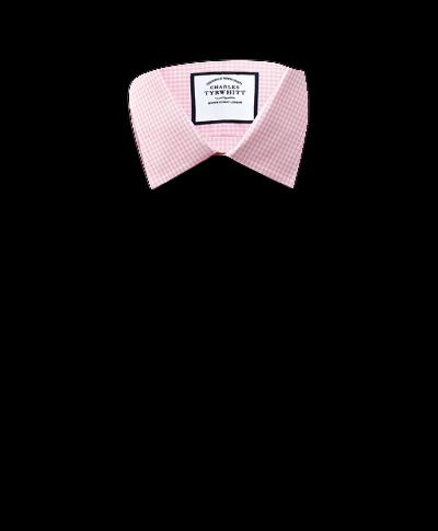 Slim Fit Hemd in Hellrosa mit kleinen Ginghamkaros