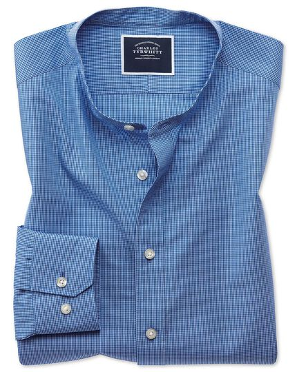 Slim fit blue check collarless shirt