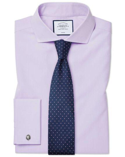 Extra slim fit non-iron cutaway poplin lilac shirt